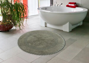 Bath Rug Cotton 36 Inch Round, Reversible, Gray, Crochet Lace Border, Washable