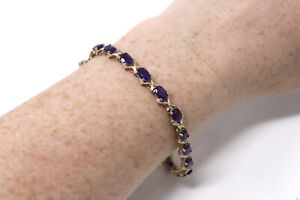 A Superb Heavy Vintage 9ct Yellow Gold Natural Amethyst Tennis Bracelet #33986