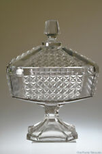 c. 1883 No. 800 HEAVY PANELED FINECUT by Geo Duncan CLEAR Covered Compote