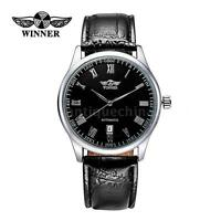 New Classic Mens Automatic Date Mechanical Analog Leather Steel Wrist Watch K3U9