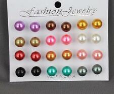 12 pair faux pearl earrings bead ball stud post earrings set pack multi color