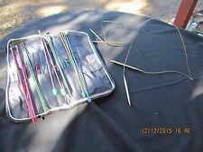 LOT OF KNITTING NEEDLES,SOME CROCHET & ACCESSORIES W  ZIPPER TAPESTRY CASE JAPAN