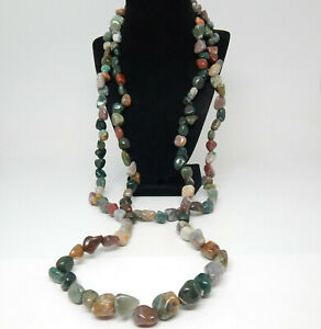 "POLISHED S. PRECIOUS GEMSTONE NATURAL JASPER AGATE MOSS JADE 72"" LONG NECKLACE"