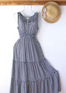 New~$138~Black & White Gingham Peasant Prairie Tiered Boho Dress~Size Large L