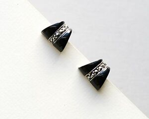 Black Onyx Stone on 925 Sterling Silver Stud Earrings with Macasite Stones