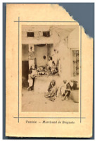Tunisie, Marchand de Beignets  Vintage albumen print.  Tirage albuminé  5,5x