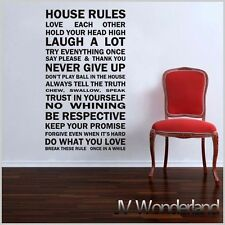 Family House Rules Removable Vinyl Wall Sticker Decal Decor Black Home Kids AU