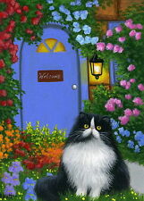 Tuxedo persian cat cottage landscape limited edition aceo print of painting art