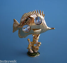 """SWAROVSKI CRYSTAL ELEMENTS """"BUTTERFLY FISH on CORAL"""" 24KT GOLD PLATED"""