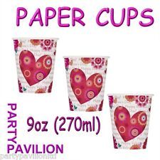 Valentines Day Party Supplies - 8 Hearts in Bloom Disposable Paper Cups