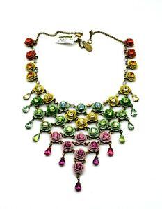 New! MICHAL NEGRIN Israel Statement Necklace, Metal Flowers & Swarovski Crystals