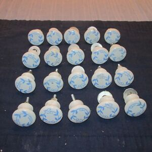 20 Vintage Victorian White Porcelain Drawer Pulls with Blue Decoration,1.25 Inch