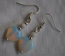 Unique handmade opalite hearts & white beads silver plated earrings + stoppers