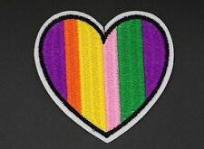 "RAINBOW HEART PATCH, LGBT HEART PATCH GAY LESBIAN PATCH, 3.125""X3.125"" (WSH-306)"