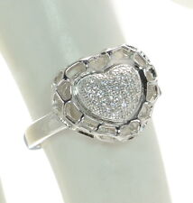 Solid 925 Sterling Silver Lab Simulated Diamond Heart Ring Sz-6 '