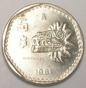 1981 Mexico Mexican 5 Pesos Quetzalcoatl Coin XF