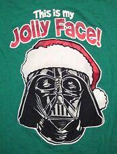 Star Wars Christmas Darth Vader This is My Jolly Face Green T Shirt M