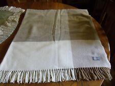 "Tessilechiti ITALY 52"" x 64"" Cream/Tan/Brown Plaid THROW Blanket CASHMERE/WOOL"