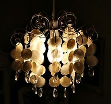 Large Champagne Antique Brass Capiz Jewelled Pendant Light French Chandelier