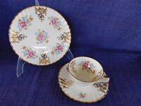 Vintage RHEINPFALZ Trio Teacup, Saucer & Dessert Plate Flowers & Gold Scrolls