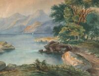 CONTINENTAL MOUNTAIN LAKE Victorian Watercolour Painting 1866