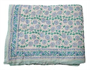 Indian Handmade Cotton Queen Size Winter Reversible Quilt Blanket Throw Razai