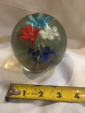 Vintage Blown Glass Paper Weight - 3 Flowers - Red, White, Blue