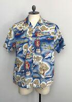 RJC Mens Hawaiian Shirt Kamehameha Islands Hula Surf XL EUC  BH