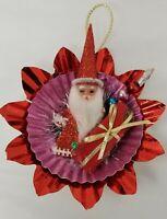 1 Vintage Starburst Christmas Ornaments Aluminum Reflectors Plastic Santa Tinsel