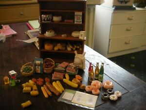 Dolls House Furniture 1/12 Scale small kitchen  dresser and food