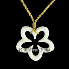 Hawaiian Jewelry Buffalo Bone Plumeria Flower Hawaii Pendant Choker Necklace