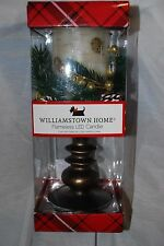 "WILLIAMSTOWN HOME CHRISTMAS FLAMELESS LED PEDESTAL CANDLE WHITE BIRCH 12"" NEW"