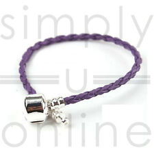 Real Leather Braided Charm Bracelet With Silver Plated Clasp… Light Blue