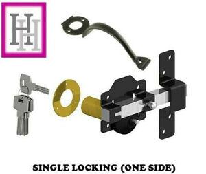 Single Locking Long Throw Gate Lock Black 50mm or 70mm plus Handle D1