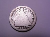 1853 Seated Liberty Silver Dime  Arrows 1410