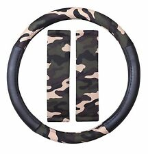 Camouflage High Grip Quality Steering Wheel Cover Protector + Seatbelt Pads