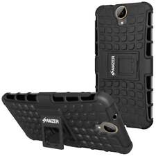AMZER Black Dual layer Warrior Hybrid Protective Case for HTC One E9 PLUS