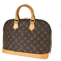 Authentic LOUIS VUITTON LV Alma Hand Bag Monogram Leather Brown M51130 70SB374