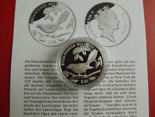 * Fiji 10 Dollars 1995 Silber PP *WWF* Fliegenschnäpper (Schub117)