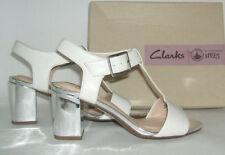 Clarks Block Patternless Sandals Heels for Women