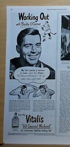1949 magazine ad for Vitalis - NY Rangers  hockey player Buddy O'Connor
