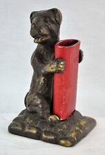 "Antique bronzed Dog pencil holder 6 ½"" Tall. (BI#MK/180106)"