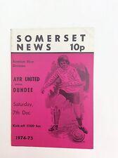 Ayr united  v Dundee  Scottish leauge first division  December   1974