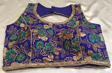 "36"" 38"" S Floral Saree Blouse Indian Bollywood Sari Choli Jacket Blue Gold Y6"