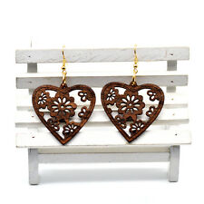Pair of Brown Wooden Heart Shape Earrings 4cm - Ethnic African Style Jewellery