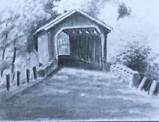 '97 Orig Charcoal Drawing Stuart Jones Lancaster Cty PA Covered Bridge Strasburg