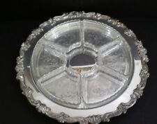 """Vinrage Silverplate Platter Footed With Glass Relish Compartment Dishes 16.5"""""""