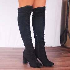 Suede Over Knee Boots Lace Up Shoes for Women
