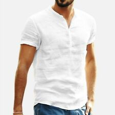 Men's Baggy Cotton Linen Solid T Shirts Tops Blouse Short Sleeve Retro Pullovers
