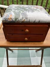 Sewing basket wooden 2 drawers soft top